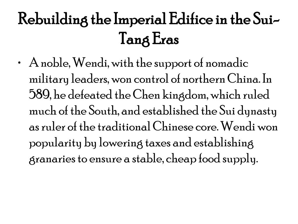 Rebuilding the Imperial Edifice in the Sui-Tang Eras
