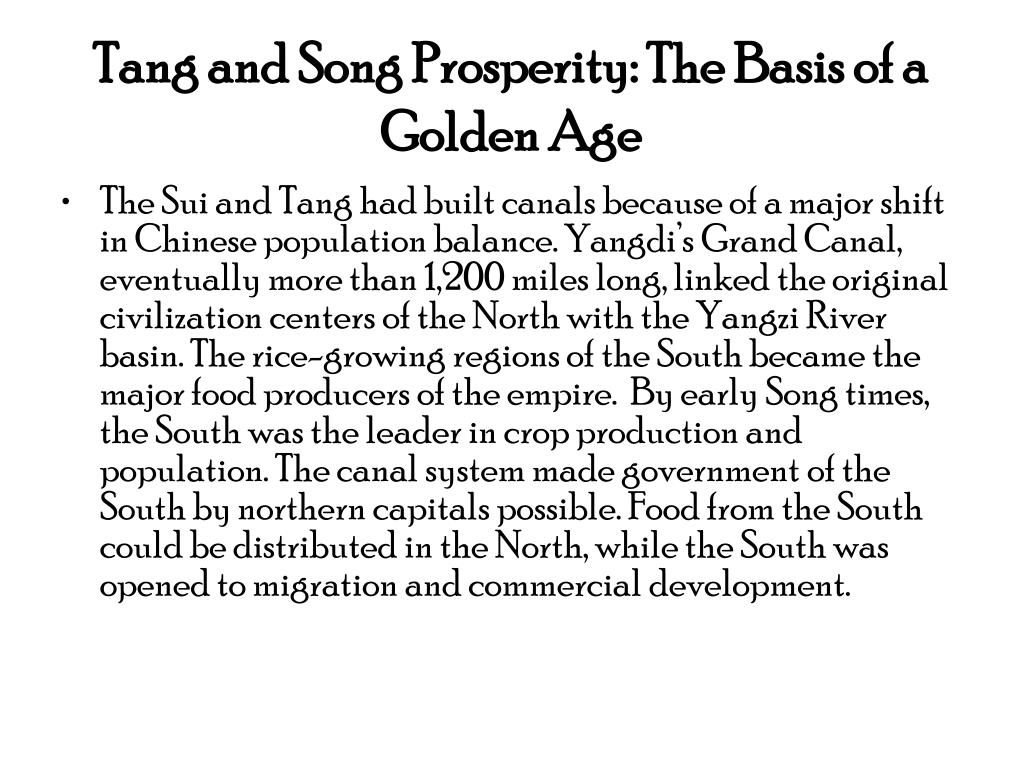 Tang and Song Prosperity: The Basis of a Golden Age