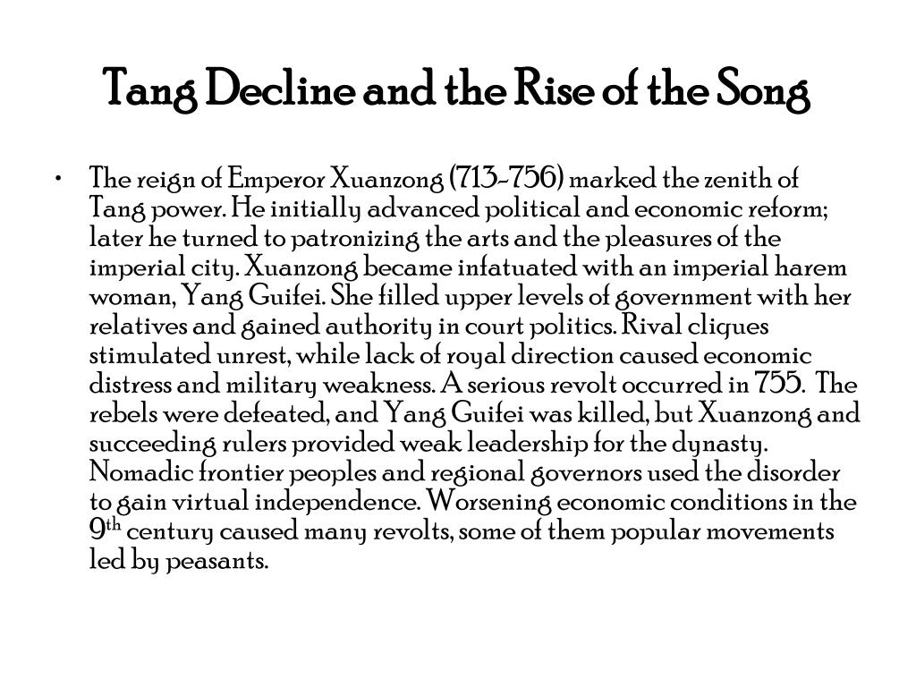 Tang Decline and the Rise of the Song