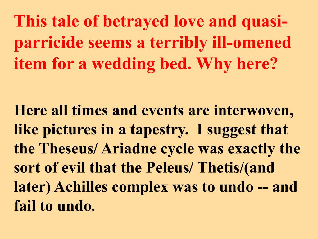This tale of betrayed love and quasi-parricide seems a terribly ill-omened item for a wedding bed. Why here?