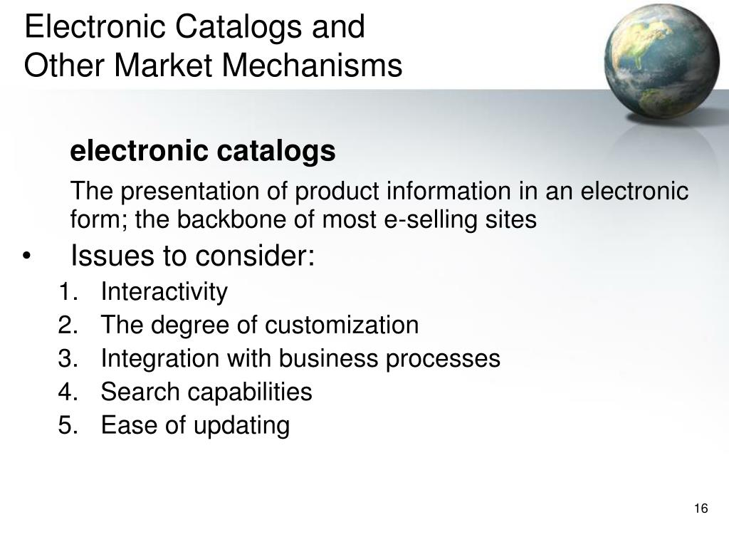 Electronic Catalogs and