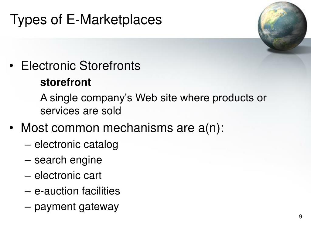 Types of E-Marketplaces