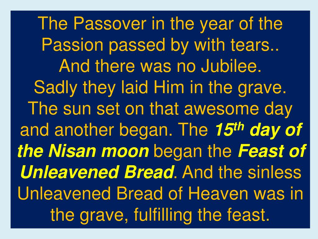 The Passover in the year of the