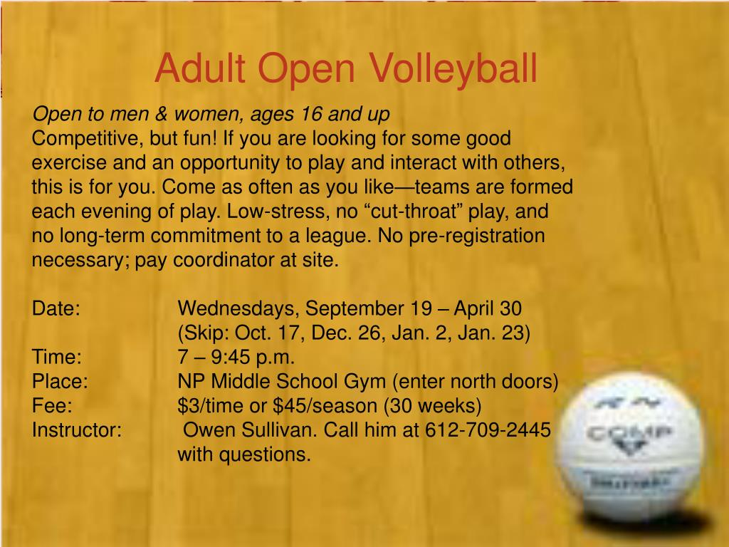 Open to men & women, ages 16 and up