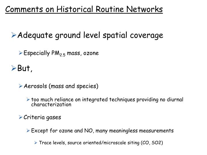 Comments on Historical Routine Networks
