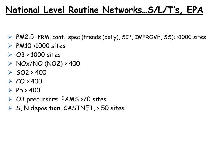 National Level Routine Networks…S/L/T's, EPA