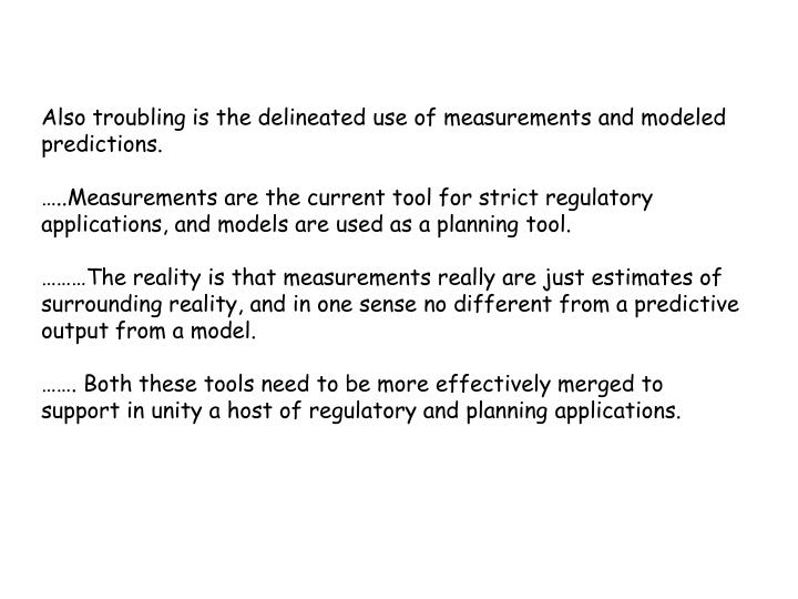 Also troubling is the delineated use of measurements and modeled predictions.