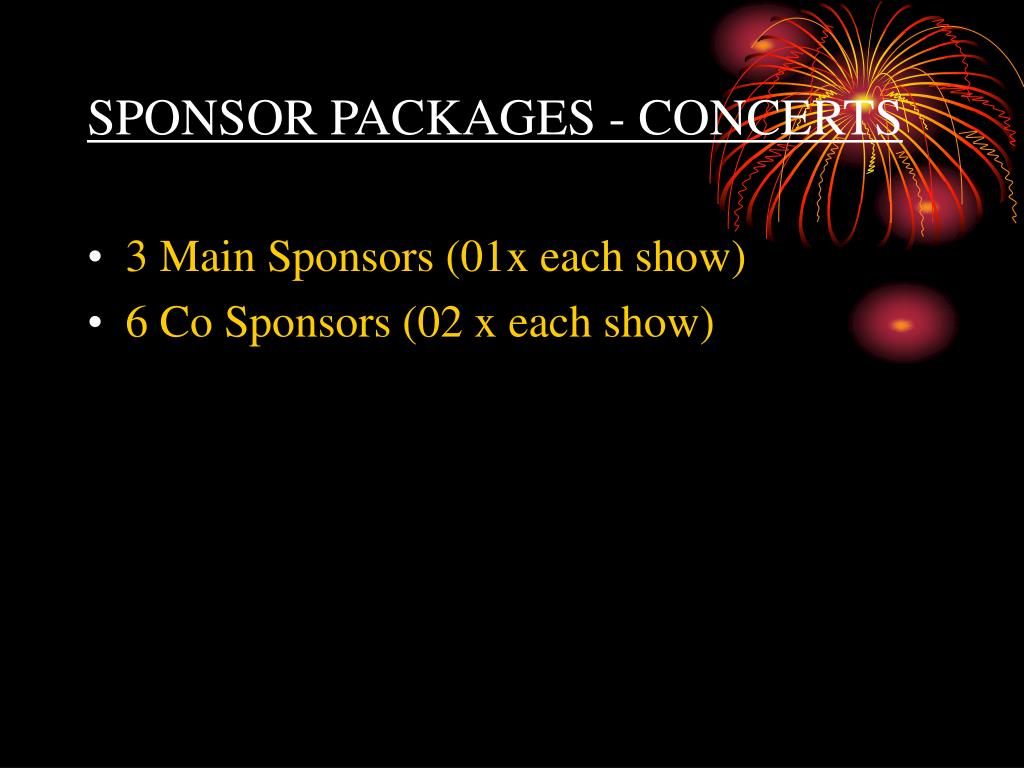 SPONSOR PACKAGES - CONCERTS