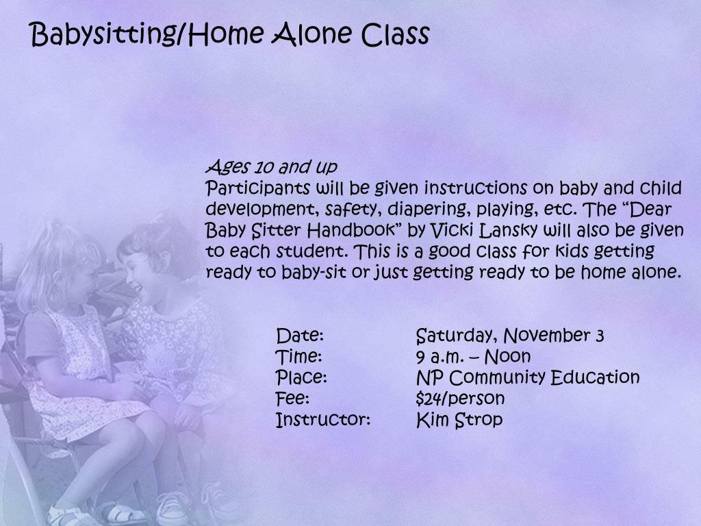 Babysitting/Home Alone Class