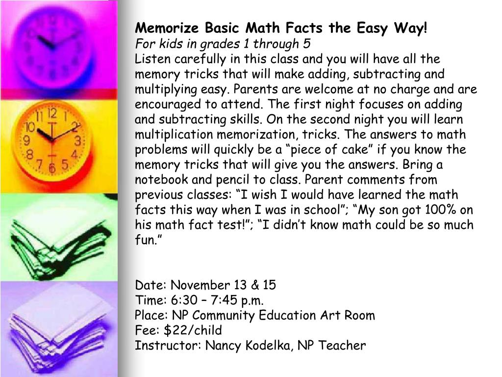 Memorize Basic Math Facts the Easy Way!