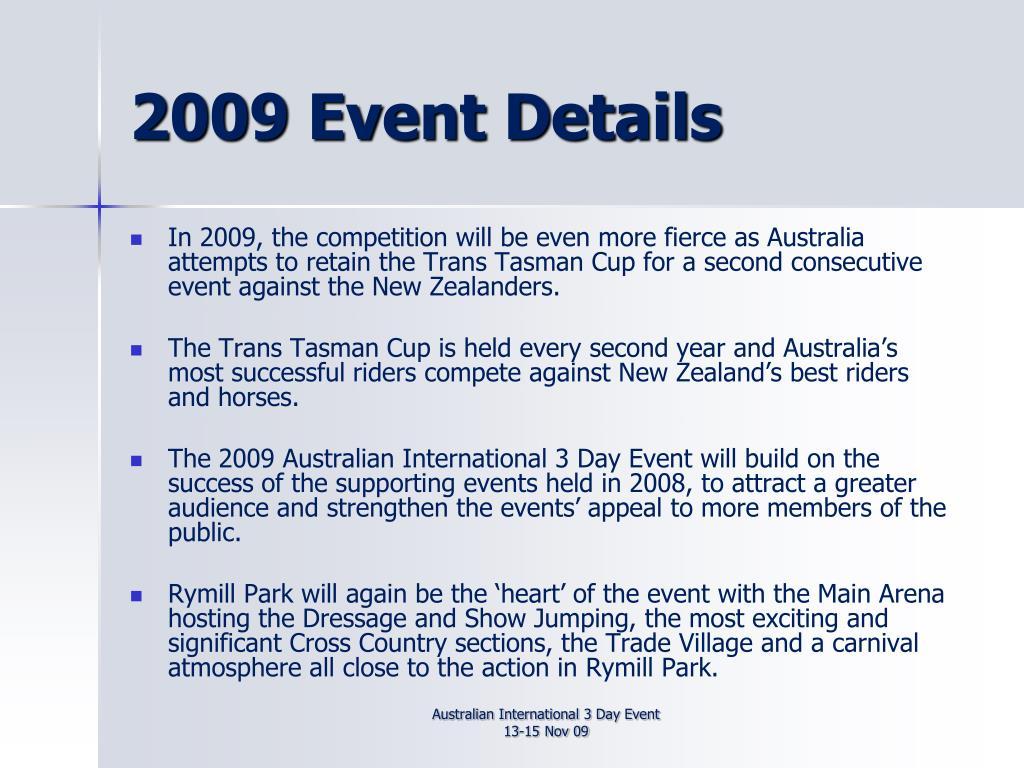 2009 Event Details