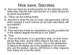 nice save socrates