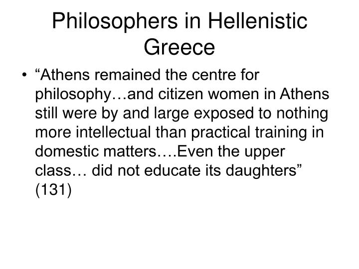 Philosophers in Hellenistic Greece
