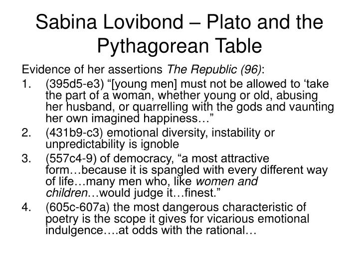 Sabina Lovibond – Plato and the Pythagorean Table