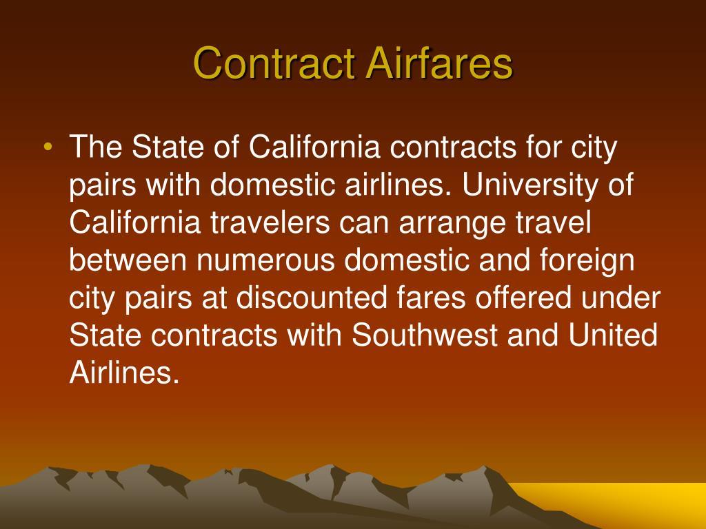 Contract Airfares