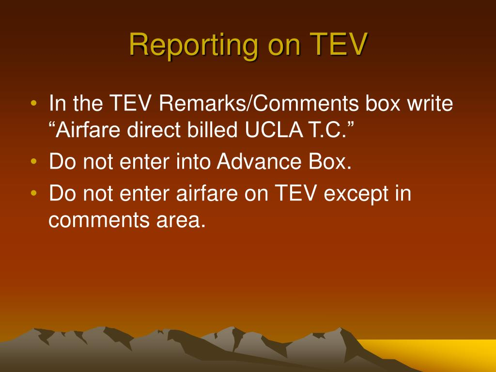 Reporting on TEV