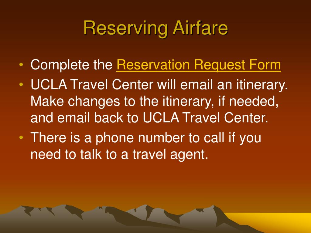 Reserving Airfare
