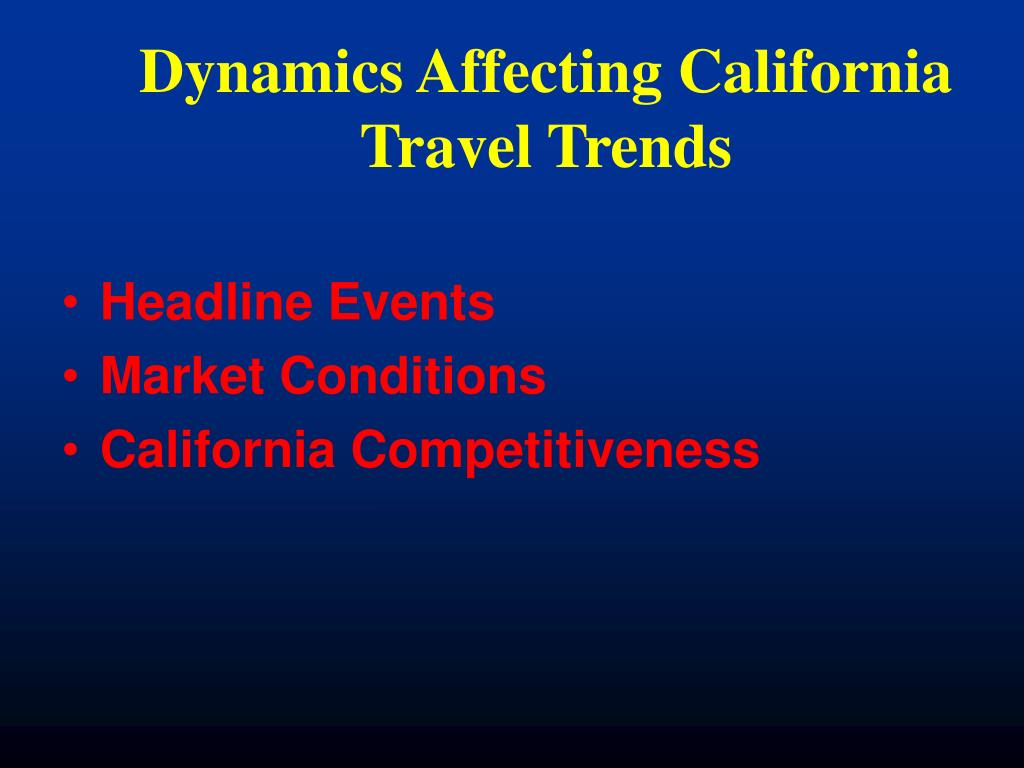 Dynamics Affecting California Travel Trends