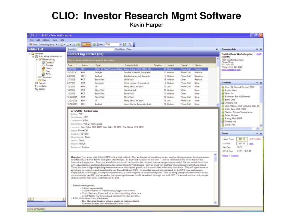 CLIO:  Investor Research Mgmt Software