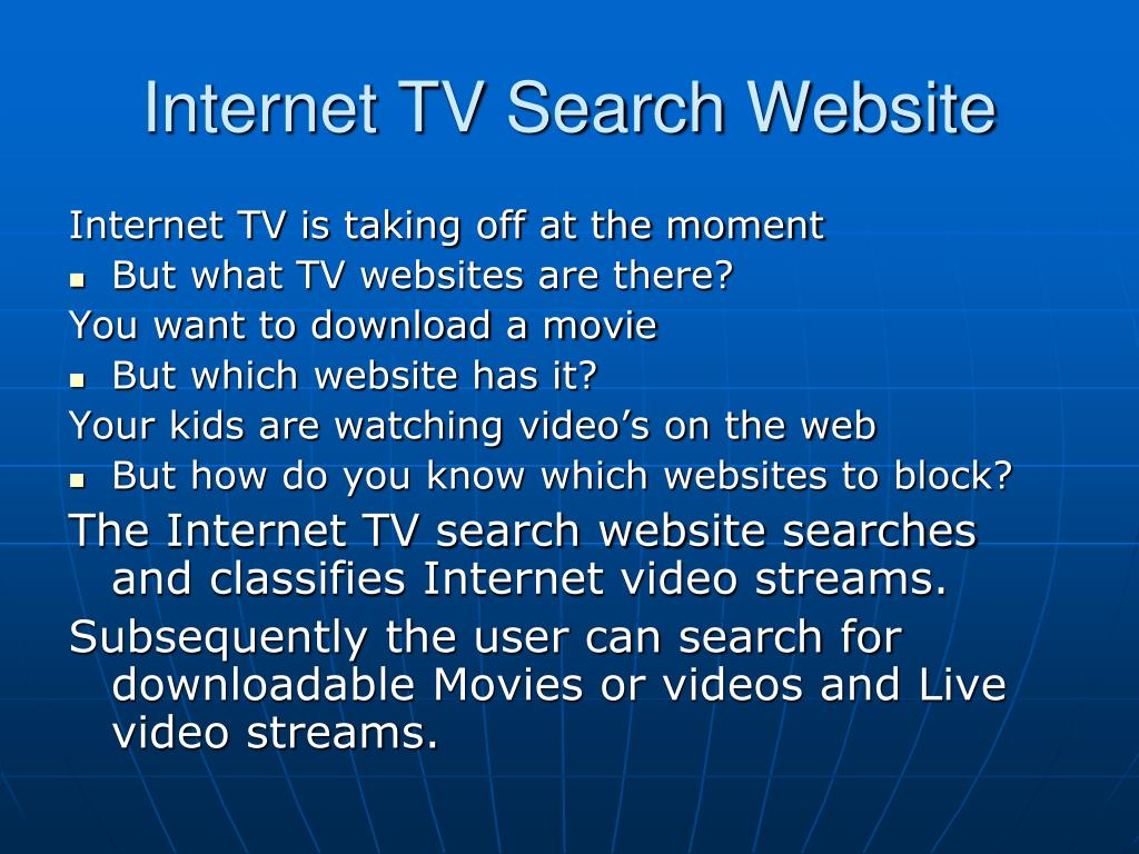 Internet TV Search Website