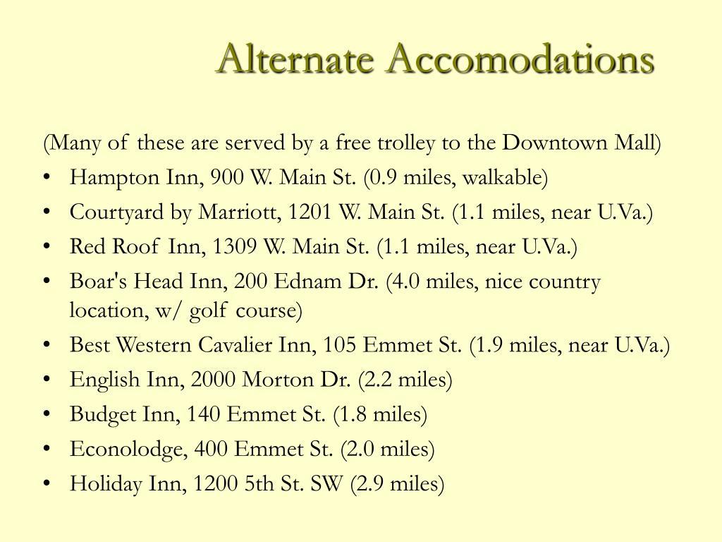 Alternate Accomodations