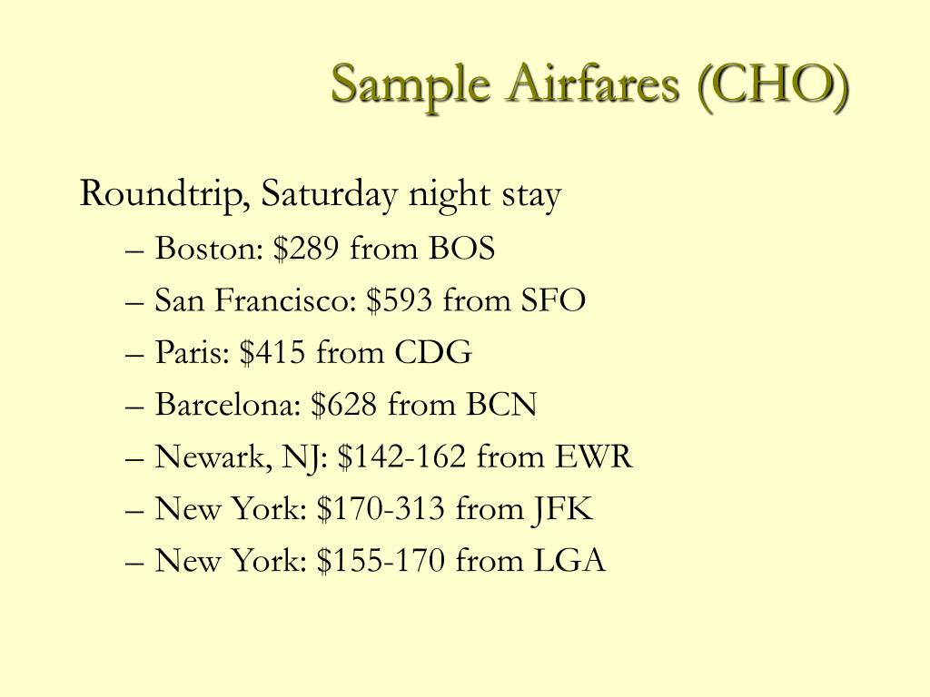 Sample Airfares (CHO)