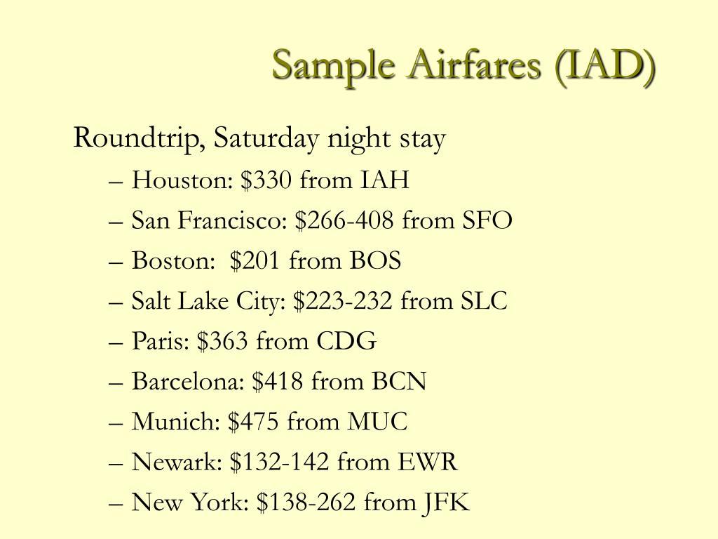 Sample Airfares (IAD)