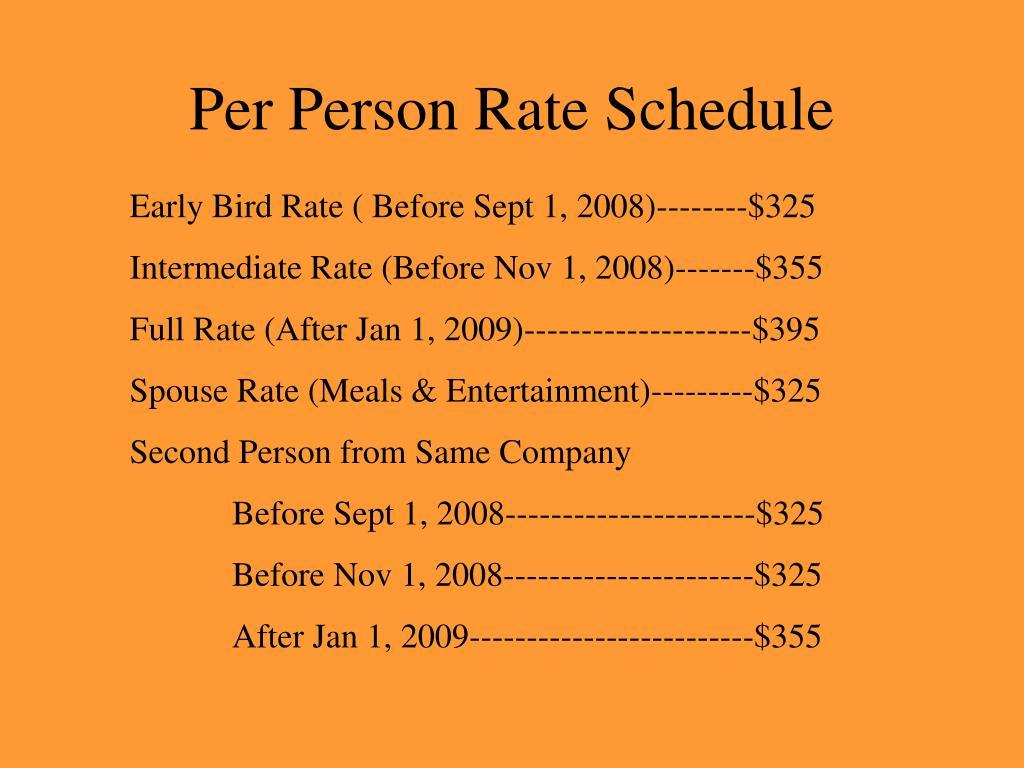 Per Person Rate Schedule