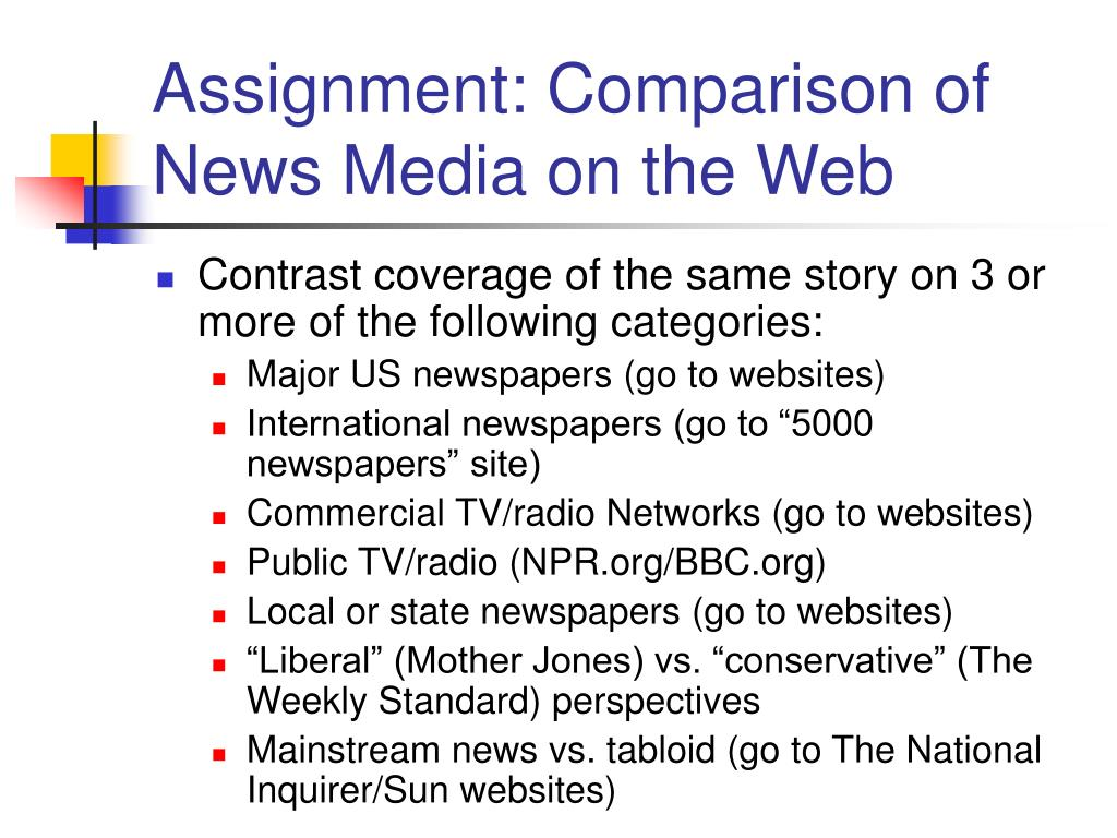 Assignment: Comparison of News Media on the Web