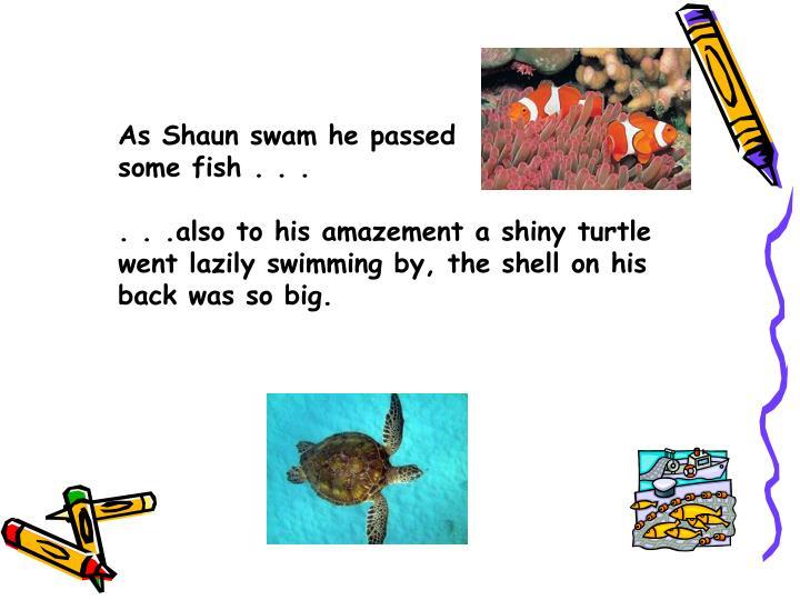 As Shaun swam he passed