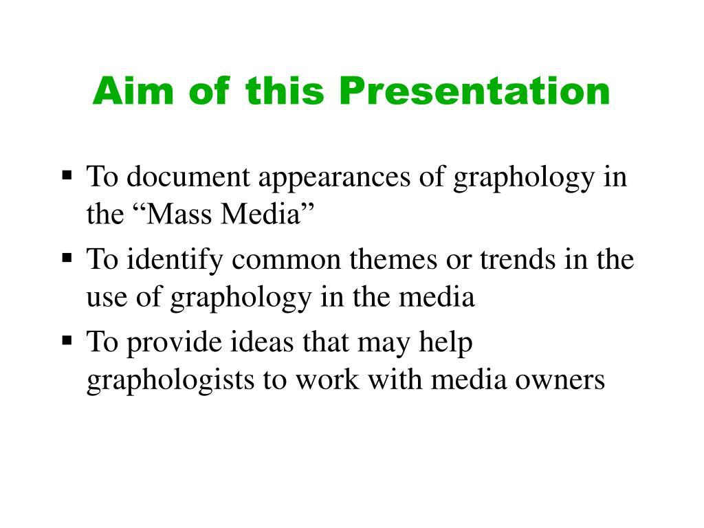 Aim of this Presentation