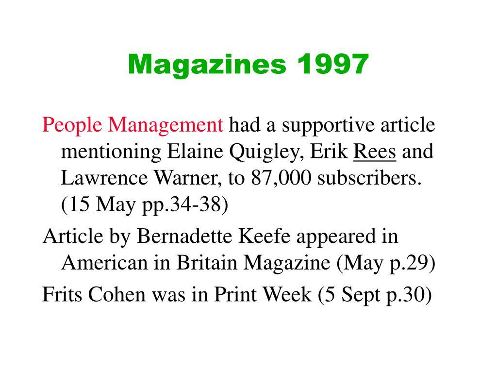 Magazines 1997