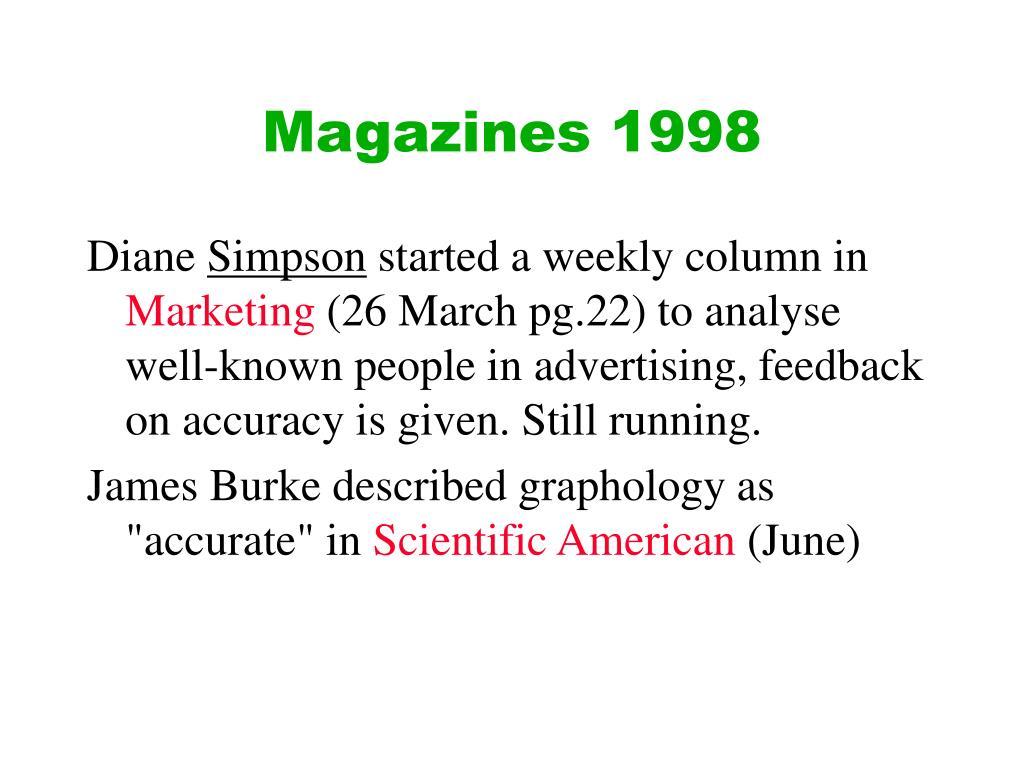 Magazines 1998