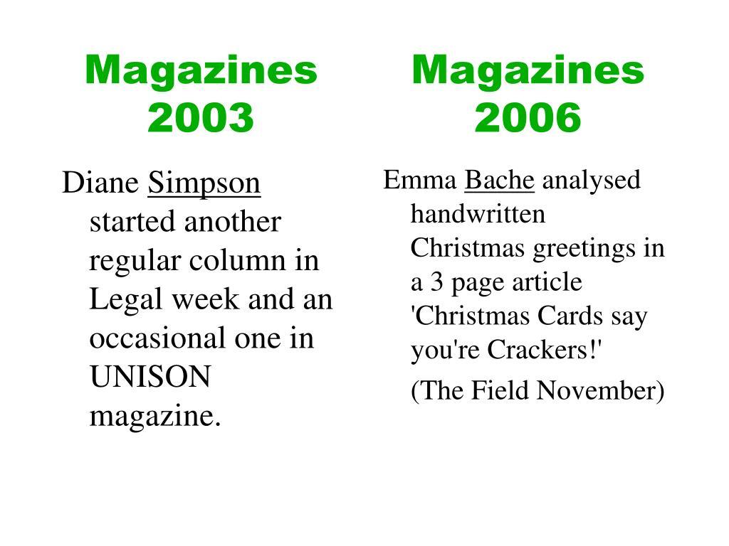 Magazines 2003