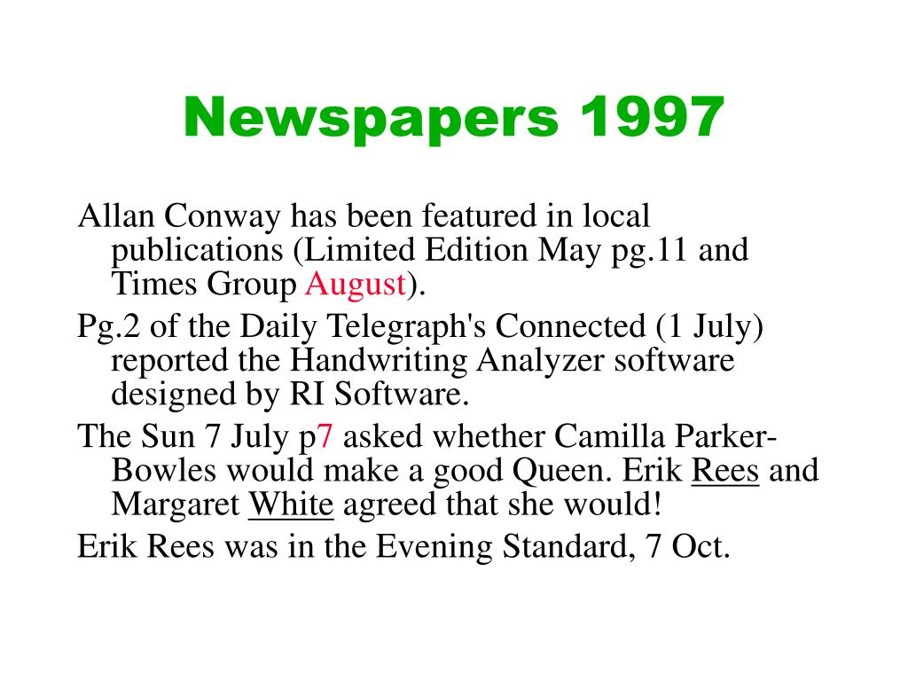Newspapers 1997