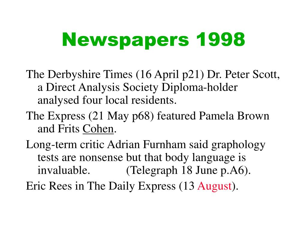 Newspapers 1998