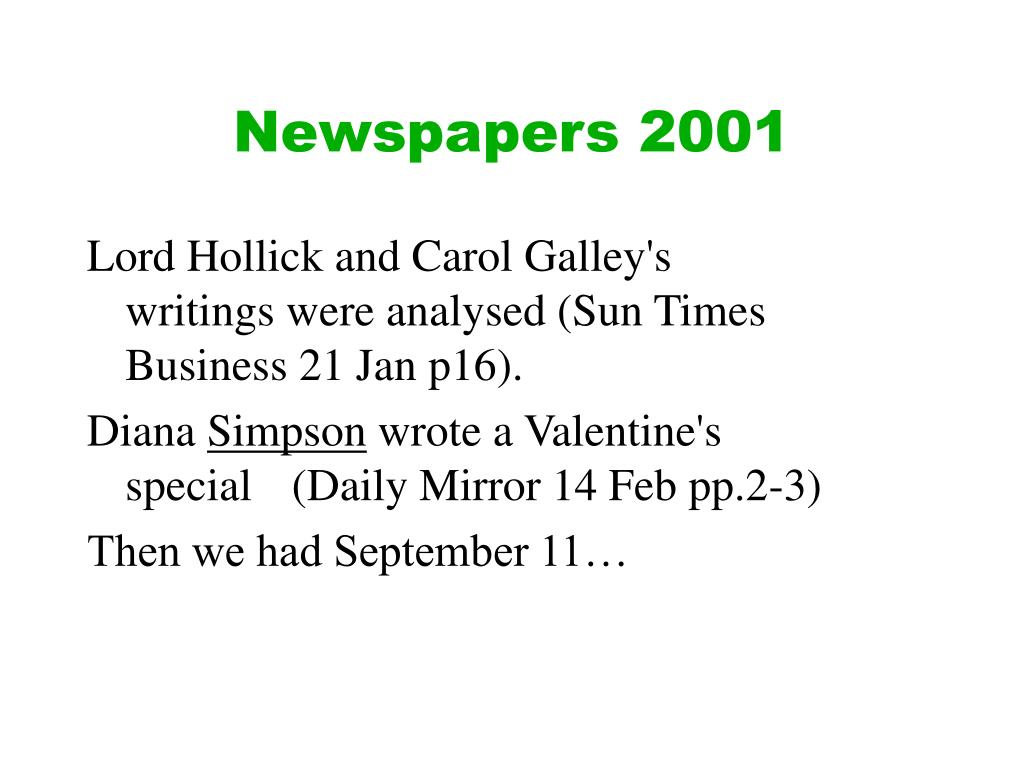 Newspapers 2001
