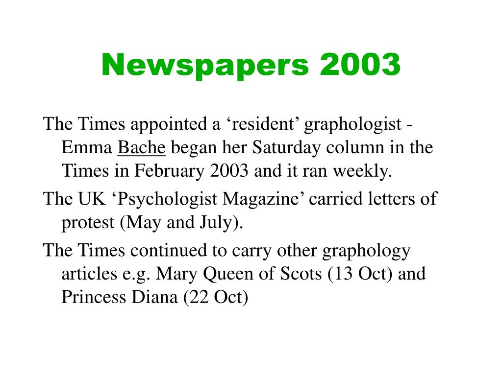 Newspapers 2003