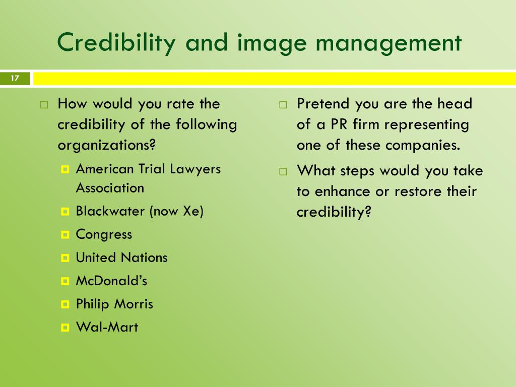 Credibility and image management
