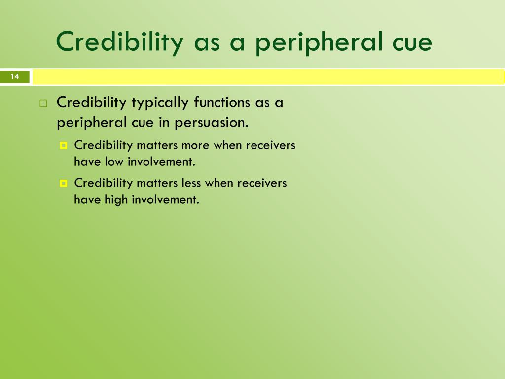 Credibility as a peripheral cue