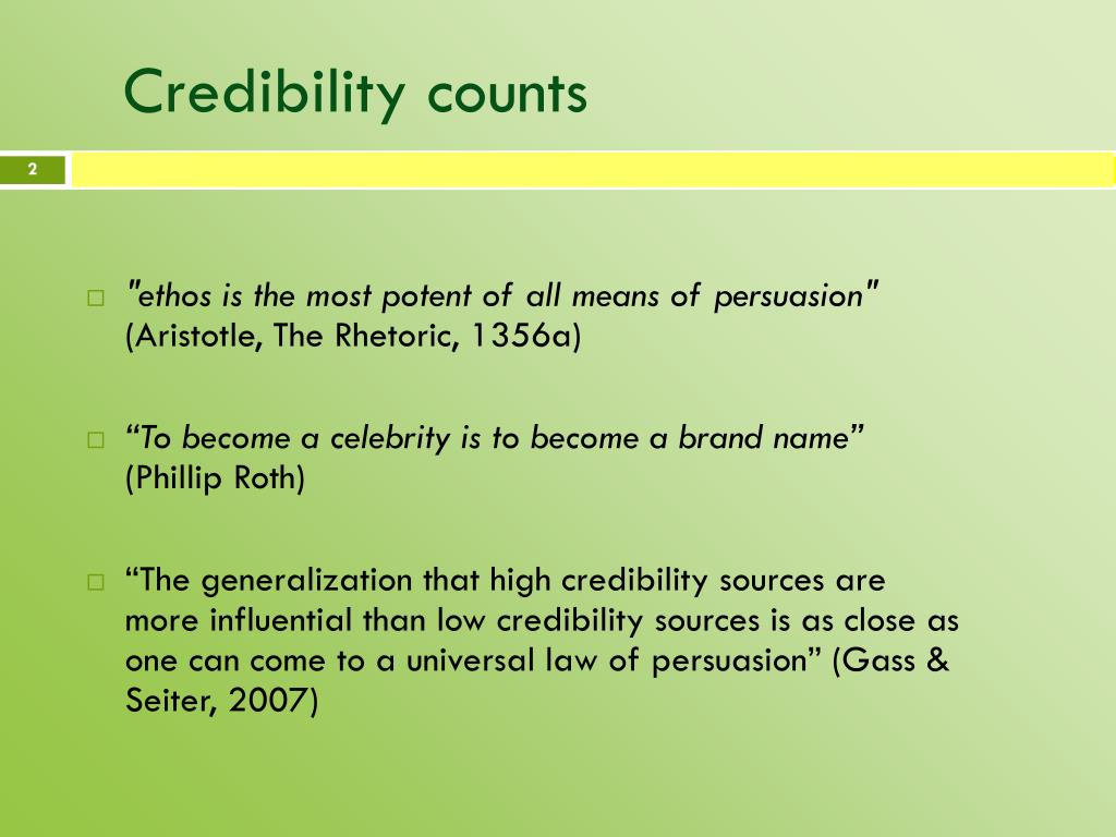 Credibility counts