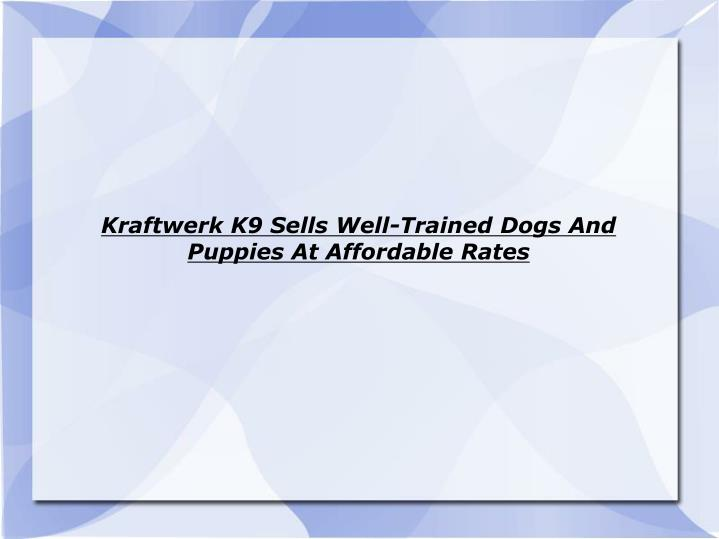 Kraftwerk k9 sells well trained dogs and puppies at affordable rates
