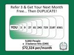 refer 3 get your next month free then duplicate