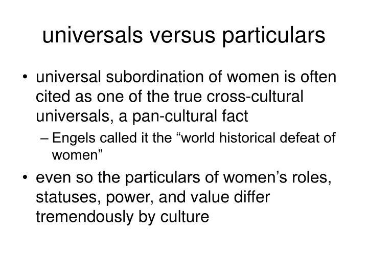 universals versus particulars