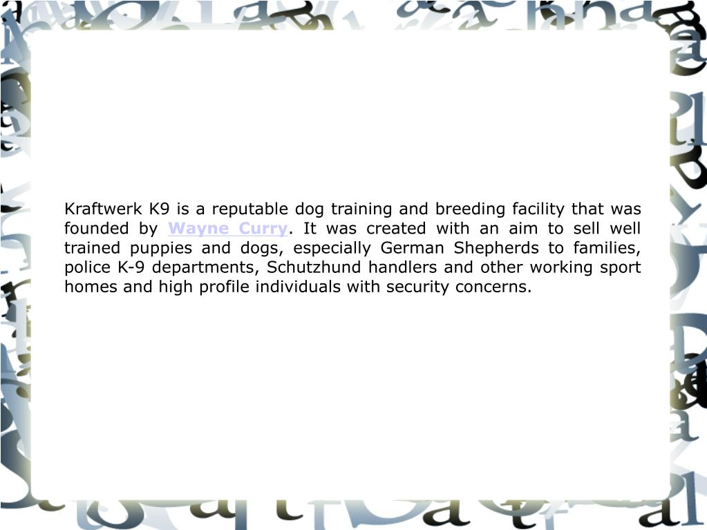 Kraftwerk K9 is a reputable dog training and breeding facility that was founded by