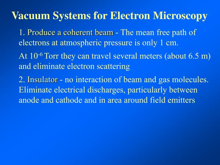 Vacuum Systems for Electron Microscopy