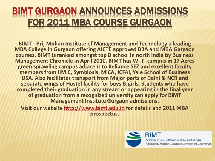 Bimt gurgaon announces admissions for 2011 mba course gurgaon