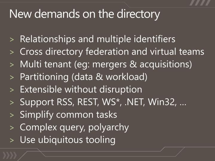 New demands on the directory
