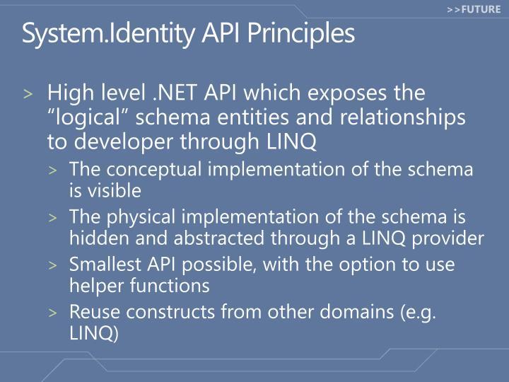 System.Identity API Principles