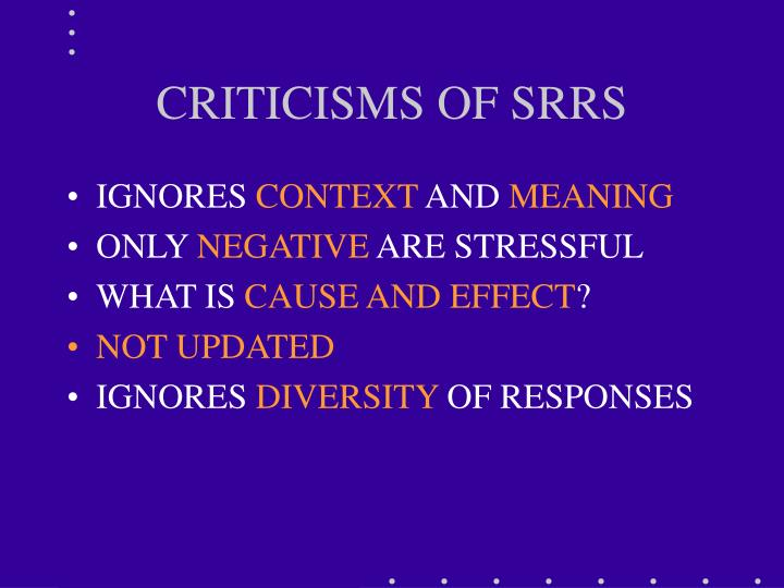 CRITICISMS OF SRRS